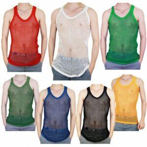 Mens 100% Cotton Mesh Fishnet Fitted Gym Summer String Vest White Black Rasta