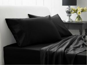 UK Bedding Collection All Size 1000 TC 100% Egyptian Cotton Black Solid
