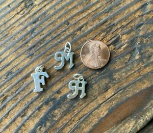 925 Sterling Silver Monogram Letter Initial Charm Pendant Choose M, H or F