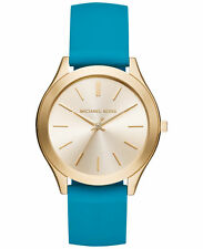 MICHAEL KORS MK2509 Slim Teal Silicone Strap Gold-Tone Women's Watch NEW**