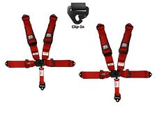 Simpson 3x3 Latch & Link Racing Harnesses Clip In Red W/Black Hardware