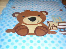 "TEDDY BEAR TIED EDGE FLEECE THROW ""BEARY SWEET"" BLUE/BROWN BEAR  HANDMADE NEW"