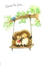 Hedgehogs Hedgehog Heart On Swing Love & Romance Hallmark Greeting Card