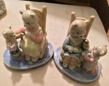 Ceramic Bear Family Mama and Papa Bear Sitting on Chairs