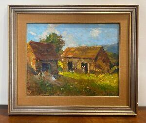 Merello Amedeo 1890-1979 dipinto ad olio antichi cascinali a Fumeri