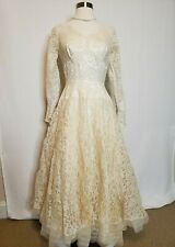 1950s Womens Vintage Wedding Dress White Floral Lace Long Sleeve