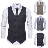 Mens Formal Vest Waistcoat Suit Tuxedo Slim Fit Business Office Evening Party