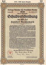 Rare 100 RM German War Bond Reichs Eagle (CV: $299.95) - - UNCANCELLED
