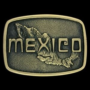 Vtg Mexico Mexican National Pride Ex-Pat Solid Brass Nos 70s Belt Buckle