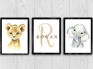 Set Of 3 - Safari Animal Theme Prints Baby Nursery Bedroom Decor NO FRAME