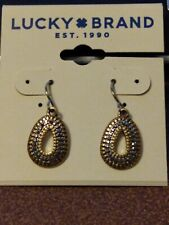 Lucky Brand gold teardrop shaped dangle earrings with hematite colored crystals