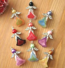 9 Angel Charms Pendants Silver Wing Bead 2 Tones Mixed (Lo)