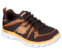 NEW! Skechers Youth Boy's Flex Advantage Paybacks Shoes Brown/Orng #95525* 116J