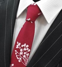 Tie Neck tie Slim Wine Red & White Floral Quality Cotton UTO3