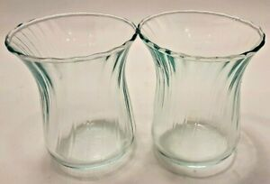 Pair of Small Hurricane Candle Holders Green Tint Ribbed Glass Votive Tea Light