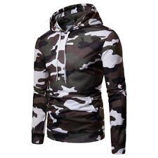 Mens Camo Hoodie Pullover Hooded Sweatshirt Army Military Camouflage Fleece