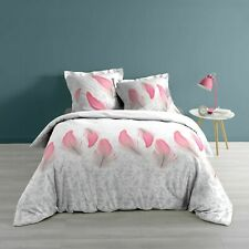 "Housse de couette + 2 taies 220x240cm ""PINK FEATHER"" 100% Coton 57 Fils"