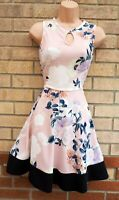 SELECT NUDE PALE PINK WHITE BLACK HEM SLEEVELESS FLIPPY SKATER SUMMER DRESS 12 M