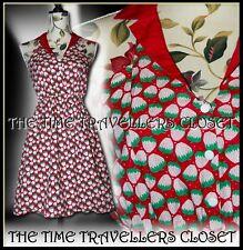 REKO FOR TOPSHOP RED WHITE GREEN STRAWBERRY HALTER ROCKABILLY MINI DRESS UK 12