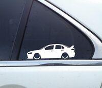2X Lowered car silhouette stickers - for Mitsubishi lancer Evo 10 / X evolution