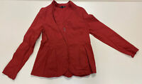 Eileen Fisher Womens Burnt Red Linen Stretch Pleated Fashion Jacket Sz S