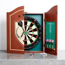NEW PUB STYLE DARTBOARD IN WOODEN CABINET WITH SCORE BOARD AND GAME DARTS FANCY