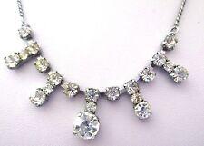 collier ancien élégant bijou vintage couleur argent cristal diamant  3447