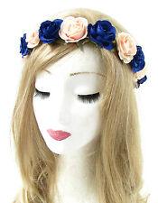 Royal Blue Peach Rose Flower Headband Hair Crown Garland Elastic Festival 767