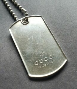 Authentic GUCCI Dog Tag Chain Necklace Pendant 925 Sterling Silver