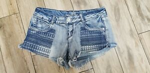 "Ladies ""Almost Famous"" Size 11 Blue, Destroyed, Denim, Short Shorts"