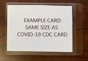 COVID21 CDC Vaccine Record Card Holder Semi-Rigid PVC Archival Safe Plastic