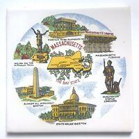 Vintage Massachusetts Tile Trivet Bay State Souvenir Bunker Hill Minuteman