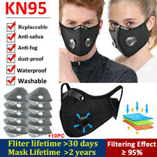 US Reusable Washable Face Mask With Breathing valve &10x Filter Mouth Mask Stock