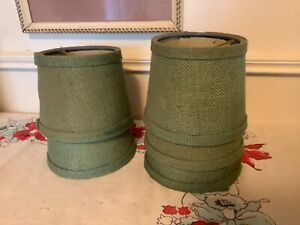 Vintage green  lot burlap Lamp Shades Chandelier Mini Clip On table Lamp Shade