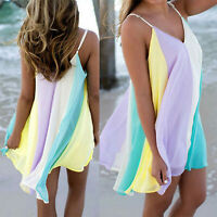 Womens Summer Chiffon Beach Wear Bikini Cover Up Kaftan Boho Swing Sun Dress