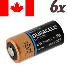 6 Pcs CR123A Lithium Battery Duracell DL123 Power Photo Batteries.Exp:2027