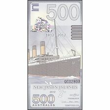 TWN - NEW JASON ISLANDS - 500 Australes 2012 UNC Titanic Polymer Private issue