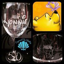 Personalizzata Disney WINNIE THE POOH Bicchiere di vino realizzata a mano & Free nome incisione!