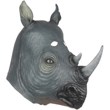 ADULT RHINO RHINOCEROS SAFARI ZOO ANIMAL LATEX RUBBER COSTUME MASK
