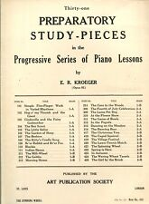 PREPARATORY STUDY PIECES - PIANO LESSONS - E.R. KROEGER - SHEET MUSIC - LOT OF 2