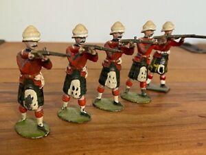 5 X ANTIQUE JOHN HILL & CO SCOTTISH REGIMENT LEAD SOLDIERS  BRITAINS