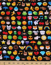 Cotton Emoji Smiley Faces Hearts Monkey Fruit Cotton Fabric Print BTY D762.27