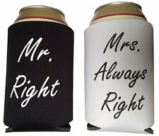 Wedding Beer Wine Tin Can Koozie Cooler Sleeves Holders Favor Mr. Mrs. Right