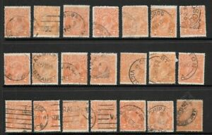 Stamps Australia Bulk 2d Orange KGV Heads Selection x 21 Good Used/Fine Used