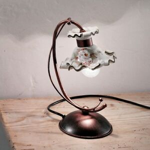 Bedside Lamp Lumetto Wrought Iron Classic And Ceramics White