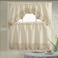 BH Home Floral Embroidered 3-Piece Kitchen Window Curtain Rachel Rose