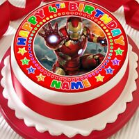 IRONMAN RED PERSONALISED BIRTHDAY 7.5 INCH PRECUT EDIBLE CAKE TOPPER A358K