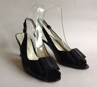 """Russell & Bromley Open Shoe Sandal Black Patent Leather Slingback 3"""" Heel UK 4"""
