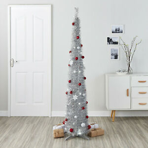 6FT LED Pre-lit Pre-decorated Christmas Tree Pop-up Slim Stylish Silver