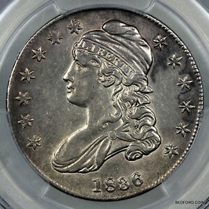 PCGS AU50 1836 LETTERED EDGE CAPPED BUST SILVER HALF DOLLAR 50c     (BC45)